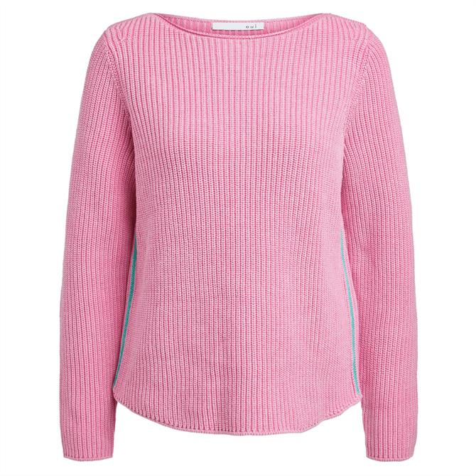 Oui Contrast Side Stripes Knitted Jumper