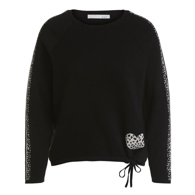 Oui Jacquard Knit Heart Jumper