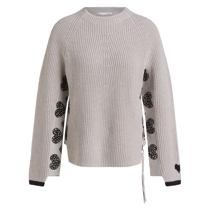 Oui Heart Motif Knitted Jumper
