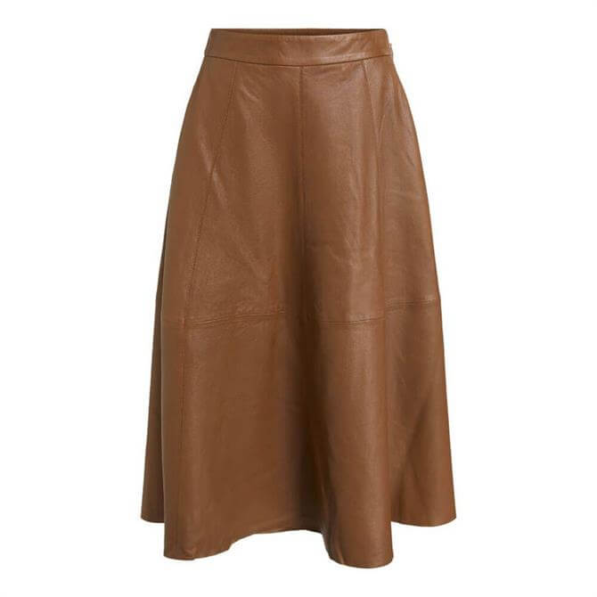 Oui Leather Midi Skirt
