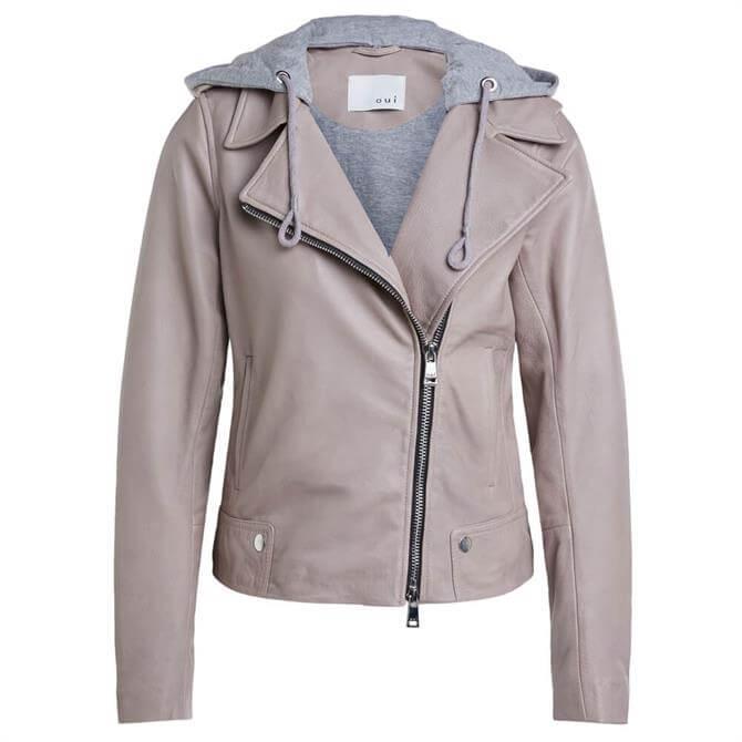 Oui Liberty Hooded Leather Jacket