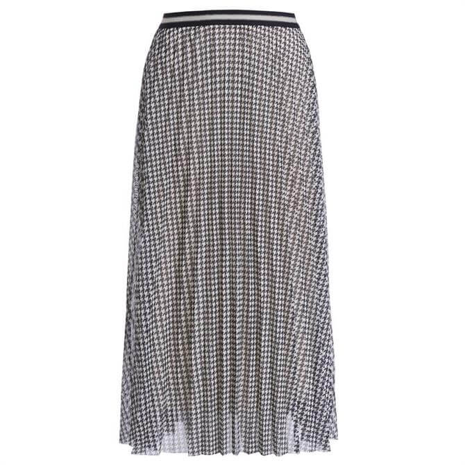 Oui Houndsooth Pleated Midi Skirt