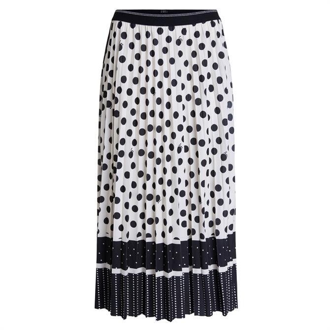 Oui Polka Dot Pleated Skirt