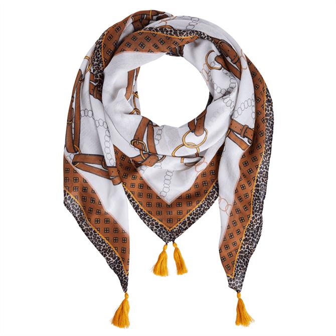 Oui Chain & Leopard Print Scarf
