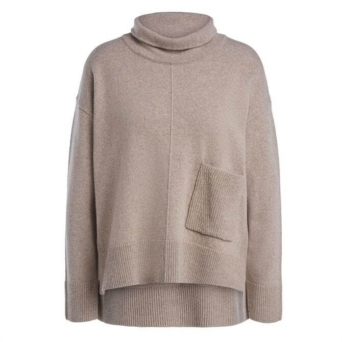 Oui Relaxed Roll Neck Pocket Sweater