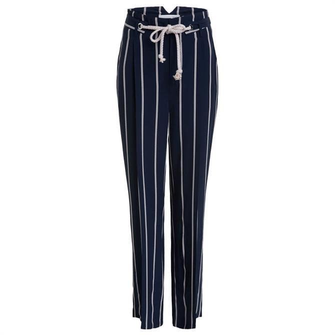 Oui Cord Belt Striped Trouser