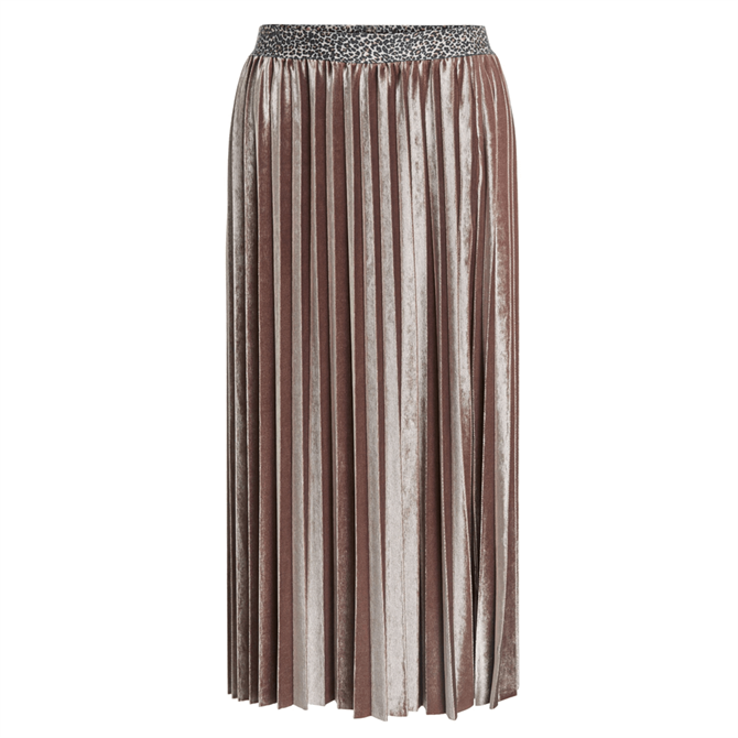 Oui Velvet Pleated Midi Skirt