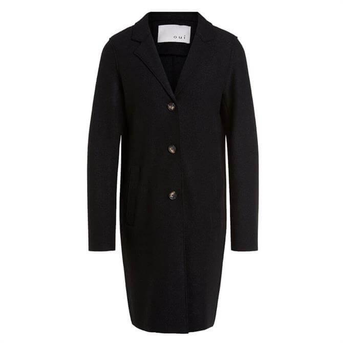 Oui Wool Buttoned Black Coatigan Coat