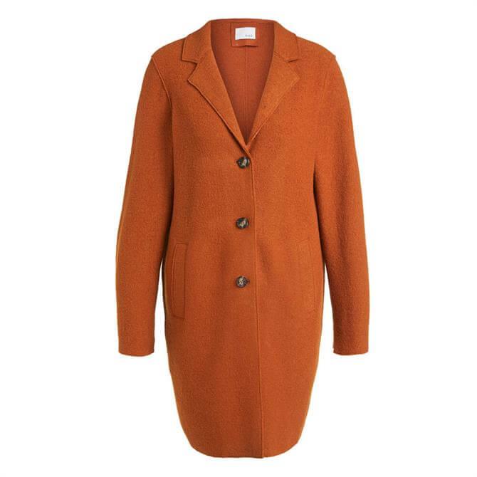 Oui Wool Buttoned Cinnamon Brown Coatigan Coat