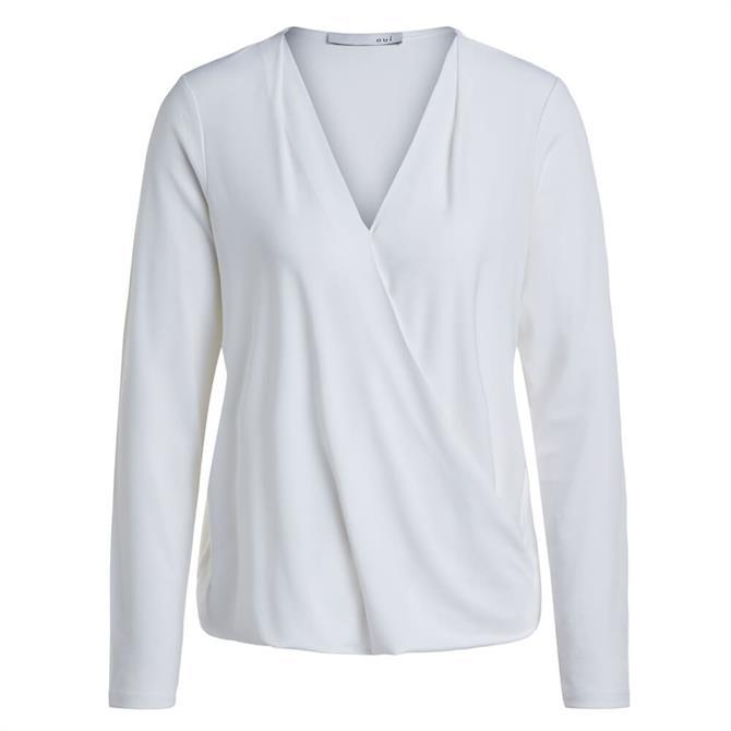 Oui Wrap Effect Long Sleeve Shirt