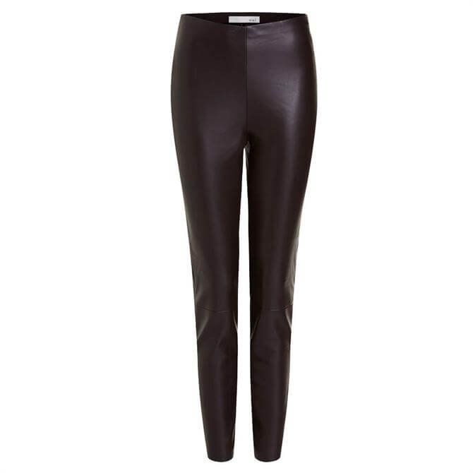 Oui Faux Leather Dark Brown Stretch Slim Fit Trousers
