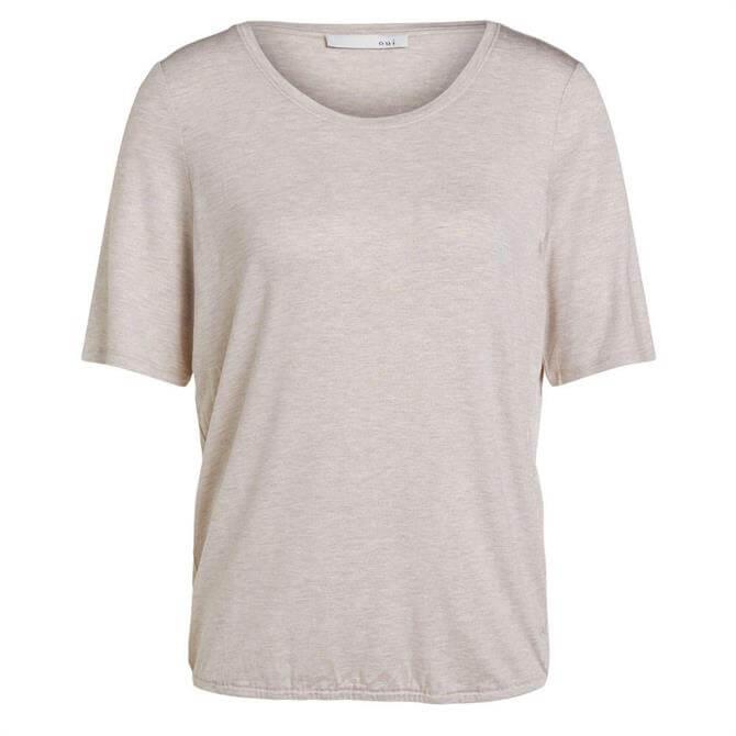 Oui Round Neck Short Sleeve Plain Stone T-Shirt