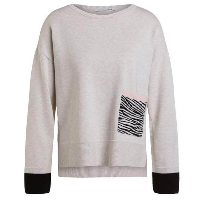 Oui Round Neck Zebra Pocket Sweater