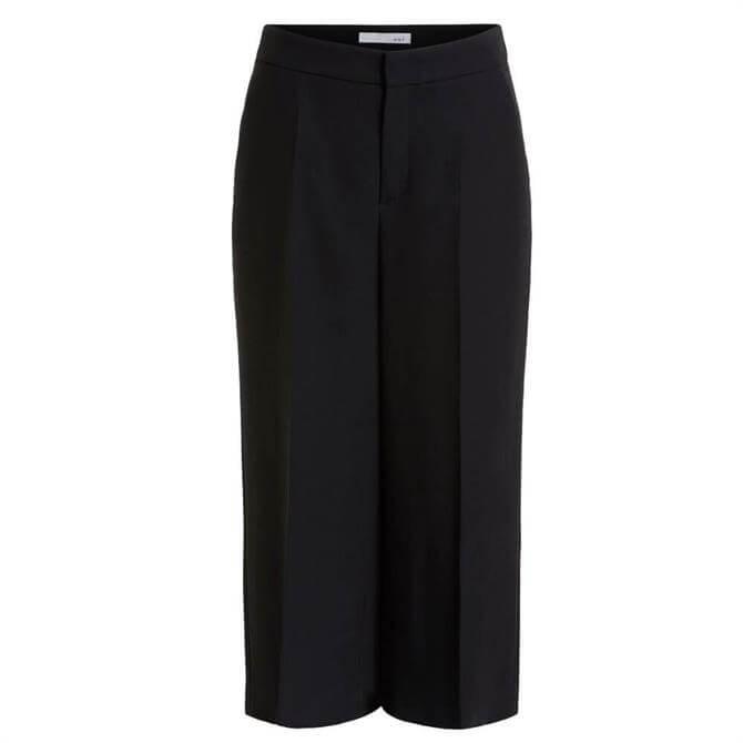 Oui Wide Leg Tailored Stretch Black Culottes