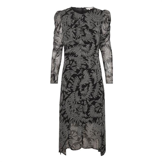 Part Two Esja Volume Sleeve Printed Midi Dress