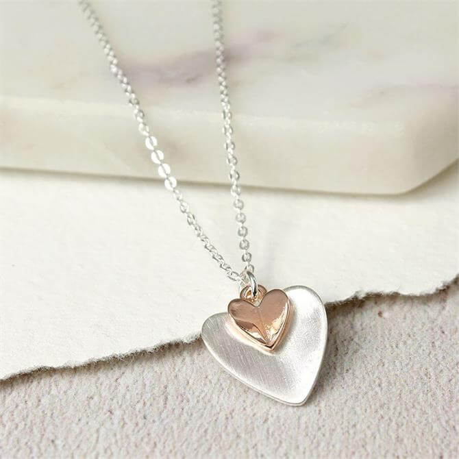 Peace of Mind Sliver Plated Rose Gold Folded Hearts Necklace
