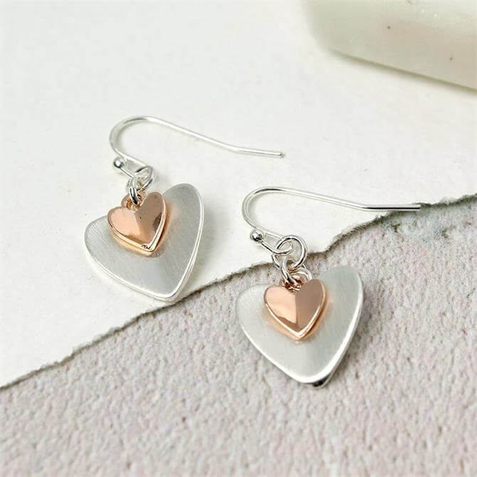 Peace of Mind Sliver Plated Rose Gold Folded Hearts Earrings