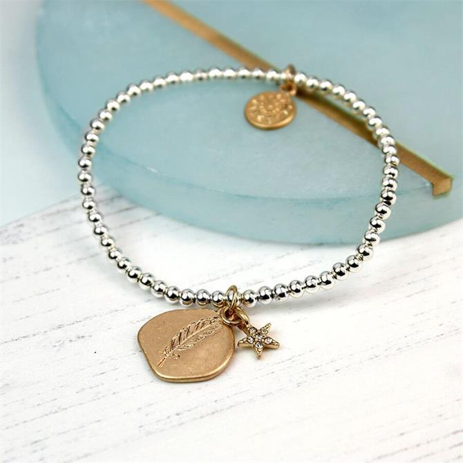 Peace of Mind Gold Plated Feather Imprint Star Bracelet