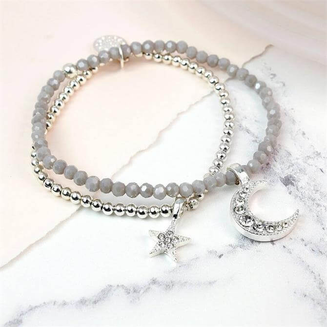 Peace of Mind Double Layer Bracelet with Crystal Star and Moon