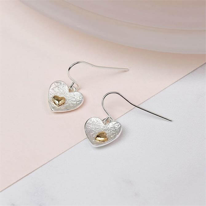 Peace of Mind Silver & Gold Plated Double Heart Earrings