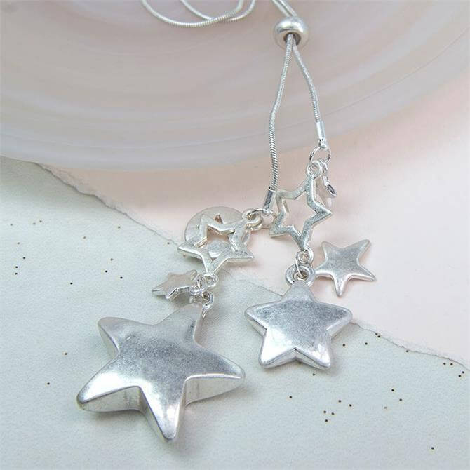 Peace of Mind Long Silver Plated Star Cluster Necklace