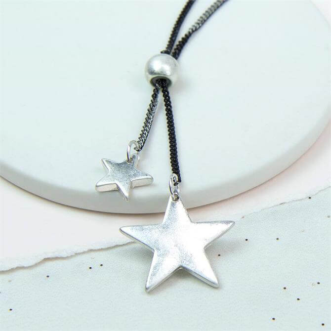 Peace of Mind Double Star Silver Plated Necklace on Coated Chain
