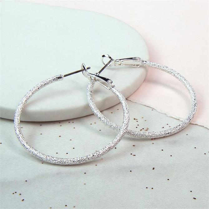 Peace of Mind Sparkle Texture Hoop Earrings