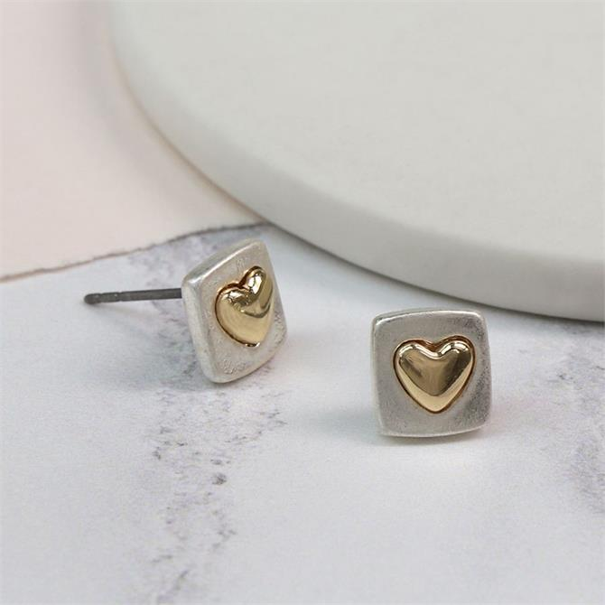 Peace of Mind Sliver Plated Square Earrings with Gold Heart