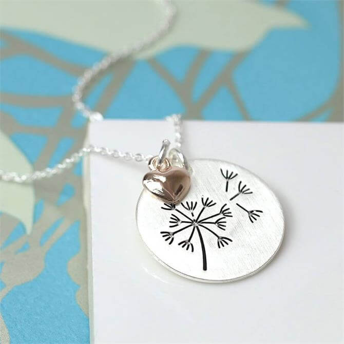 Peace of Mind Silver Plated Dandelion Disc Necklace