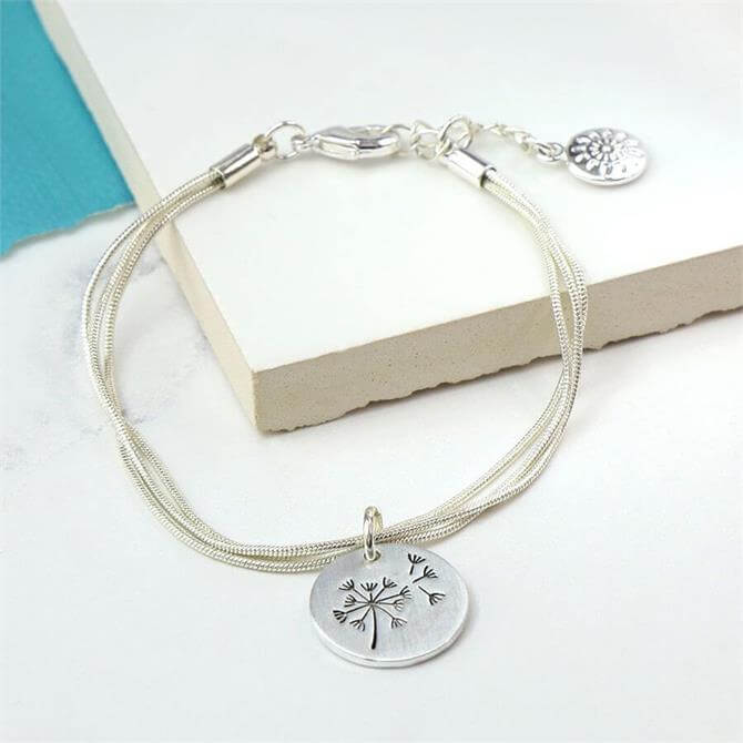Peace of Mind Silver Plated Triple Strand Dandelion Disc Bracelet