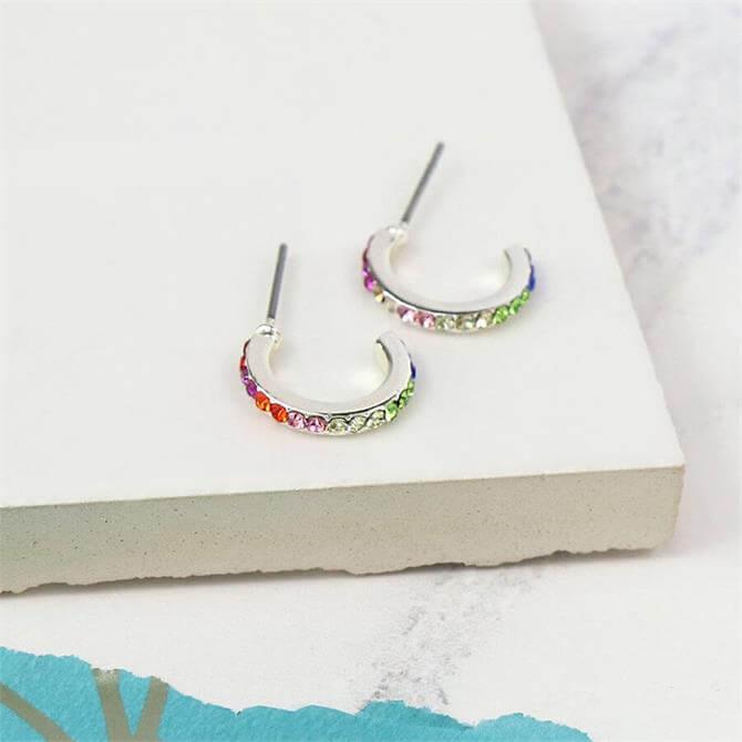 Peace of Mind Sliver Plated Rainbow Crystal Hoop Earrings