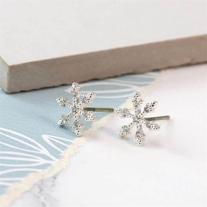 Peace of Mind Silver Plated Crystal Snowflake Stud Earrings