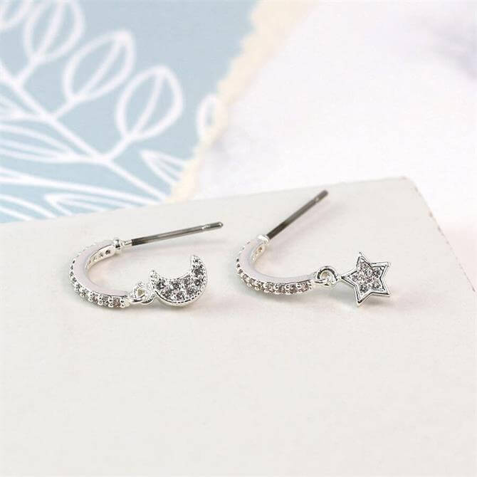 Peace of Mind Silver Plated Crystal Moon and Star Hoop Earrings