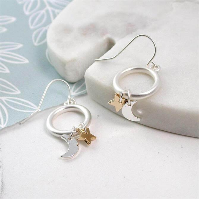 Peace of Mind Sliver Plated Hoop Drop Star & Moon Earrings