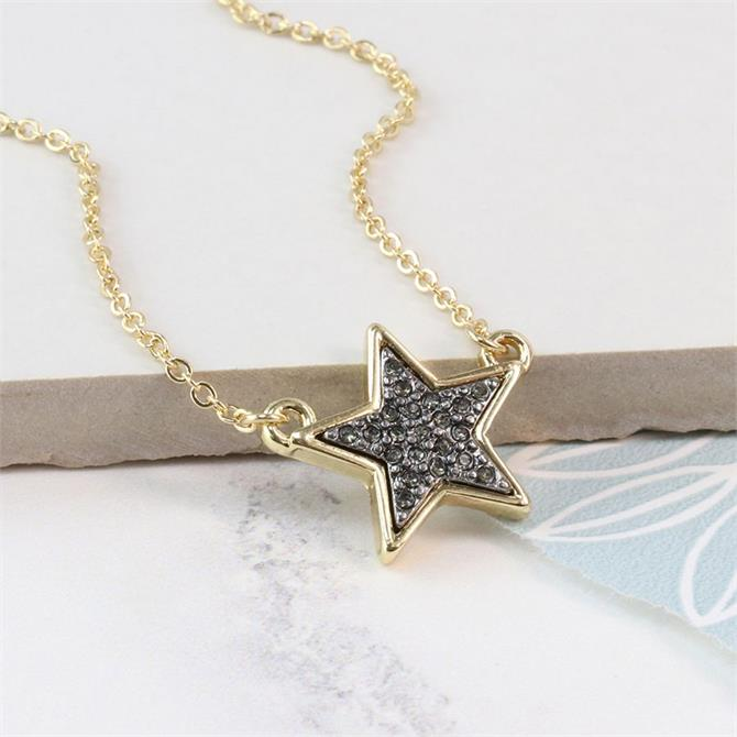 Peace of Mind Golden Star Necklace with Black Sparkle Centre