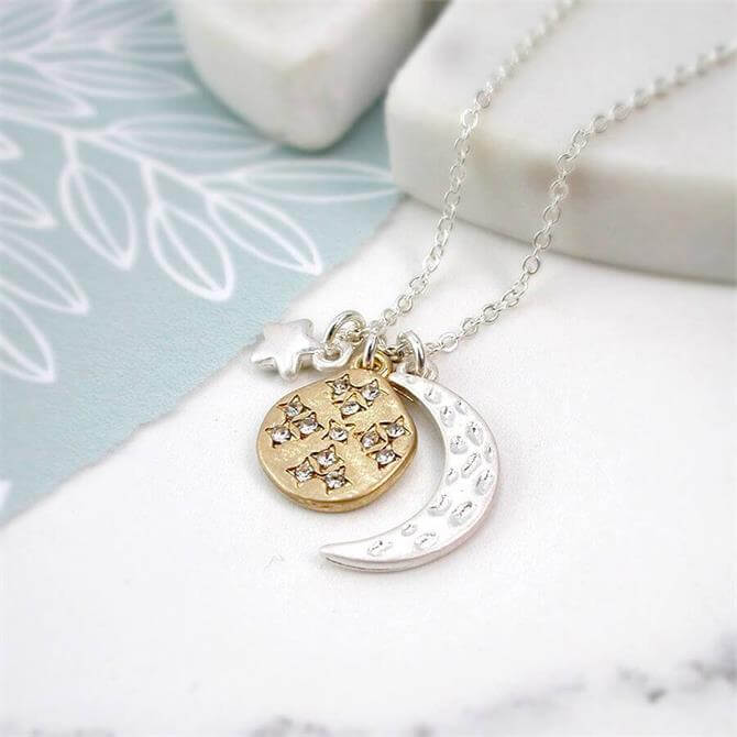 Peace of Mind Sliver Plated Moon Star & Planet Necklace