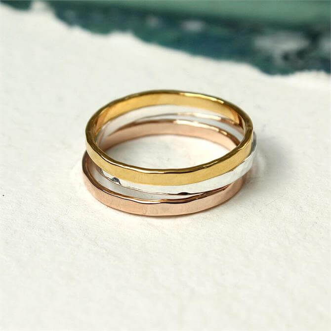 Peace of Mind Triple Silver, Gold & Rose Gold Rings