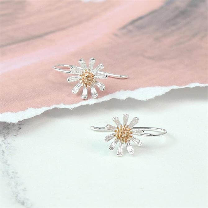 Peace of Mind Sterling Silver & Rose Gold Daisy Earrings