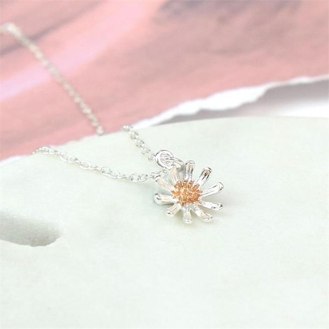 Peace of Mind Sterling Silver & Rose Gold Daisy Necklace