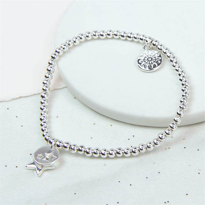 Peace of Mind Silver Plated Double Star Charm Bracelet