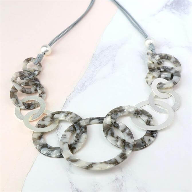 Peace of Mind Grey Resin Matt Silver Multi Hoop Necklace
