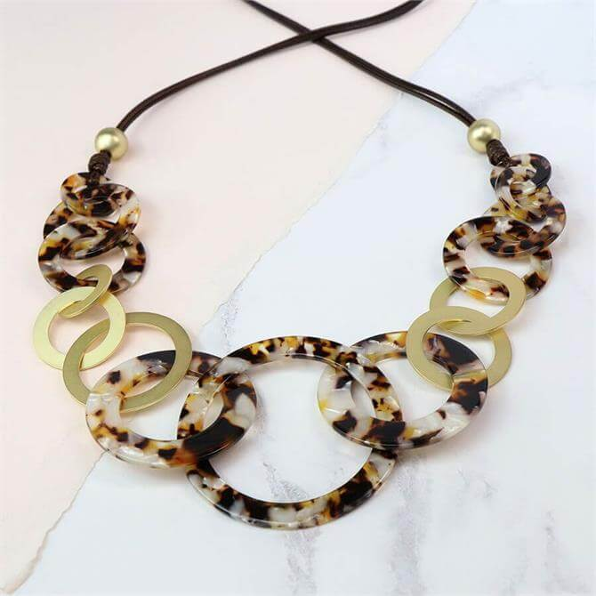 Peace of Mind Taupe Resin Matt Gold Multi Hoop Necklace