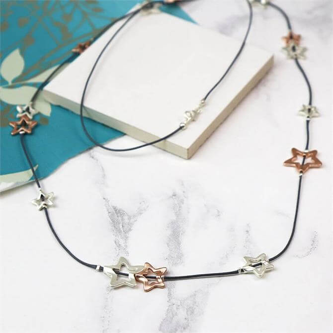 Peace of Mind Long Multi Star Fine Cord Necklace