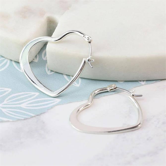 Peace of Mind Silver Plated Heart Hoop Earrings