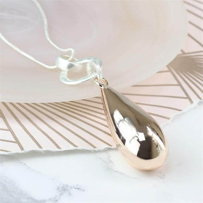 Peace of Mind Long Silver Plated Necklace With Rose Gold Teardrop