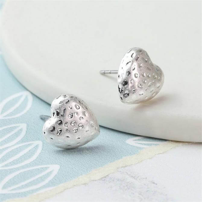 Peace of Mind Silver Plated Hammered Heart Stud Earrings