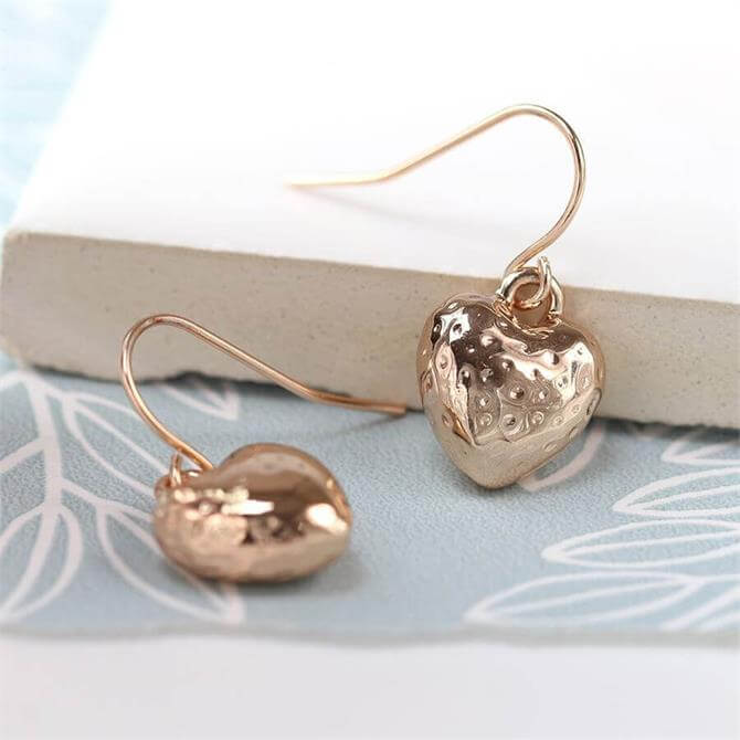 Peace of Mind Rose Gold Plated Hammered Heart Drop Earrings