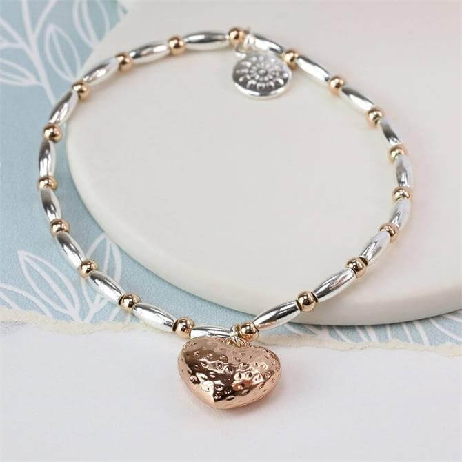 Peace of Mind Rose Gold Plated Heart & Mixed Bead Bracelet