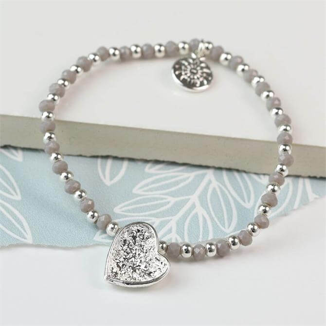 Peace of Mind Silver Plated Crinkle Heart and Grey Bead Bracelet