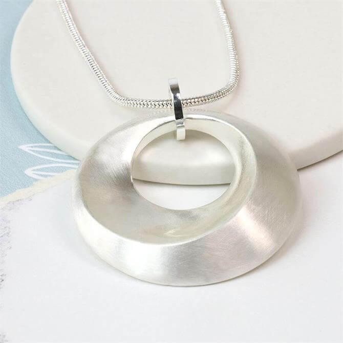 Peace of Mind Silver Plated Worn Finish Bevelled Hoop Necklace